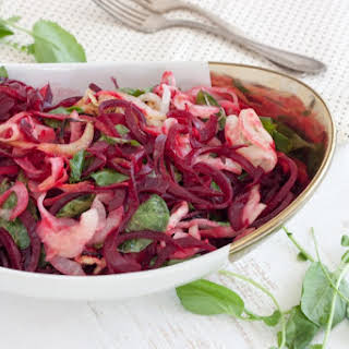 Warm Beet, Kohlrabi and Watercress Salad.