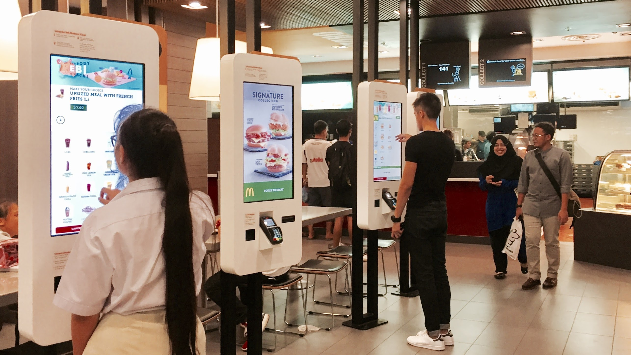 McDonald's self-order kiosks.