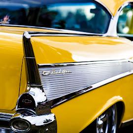 Bella Bel Air by Mark Ritter - Transportation Automobiles ( macro, classic, car, closeup, yellow, bel air )