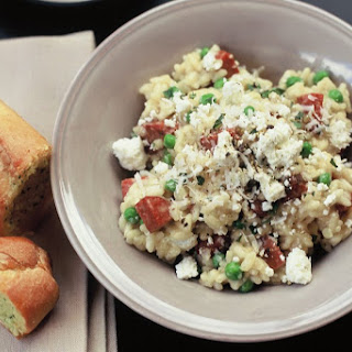 Risotto With Chorizo, Goat's Cheese And Peas (gluten-free).