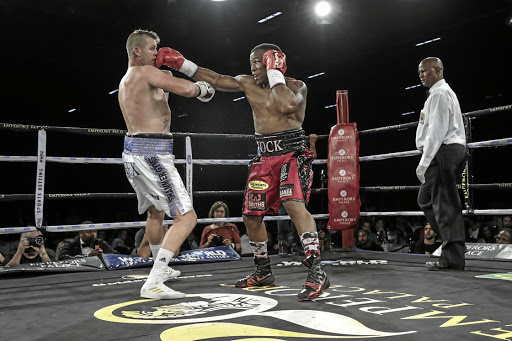 Thabiso Mchunu rocks Thomas Oosthuizen during the one-sided fight he won by points.