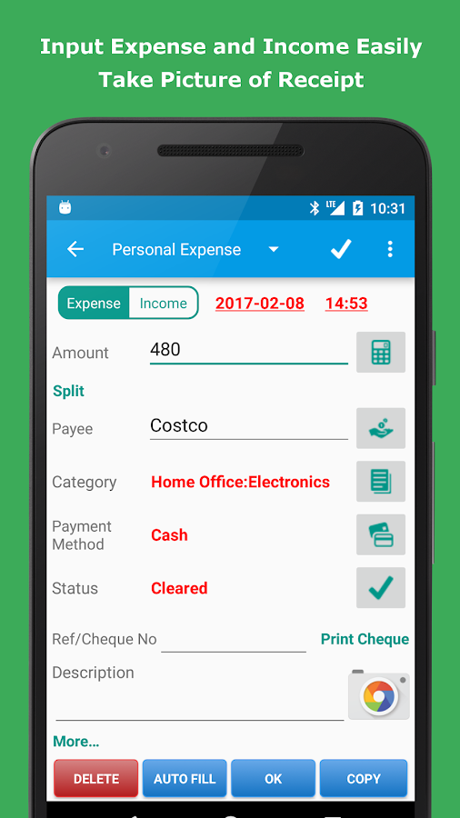 Expense Manager: captura de pantalla