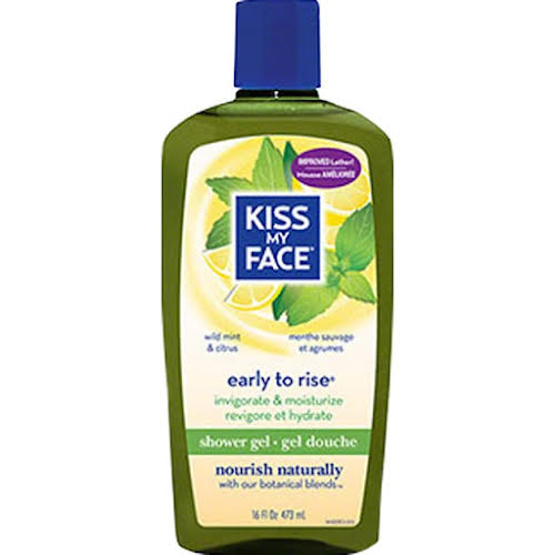 Kiss My Face Early to Rise Shower Gel: Wild Mint and Citrus, 16oz Bottle