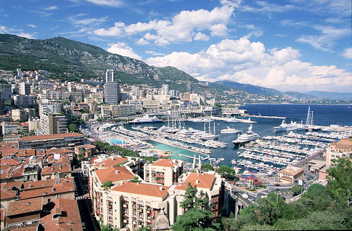 Yachts line the harbor in Monte Carlo, Monaco.