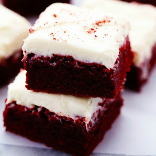 Red Velvet Brownies with Cream Cheese Frosting.