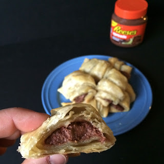 Simple Peanut Butter and Chocolate Croissants.