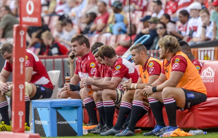Lions bench during the Super Rugby match between Emirates Lions and Crusaders at Emirates Airline Park on April 01, 2018 in Johannesburg, South Africa.