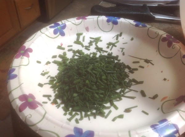 Now add the chopped chive. As much or as little as you like, it...
