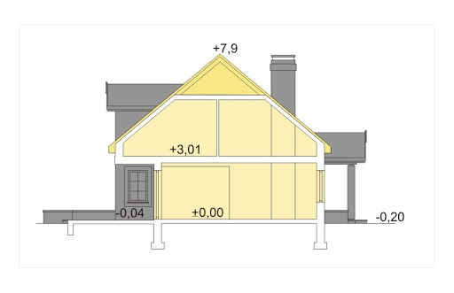 Ala II wersja A z pojedyńczym garażem - Przekrój