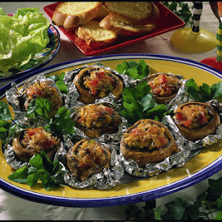 Blue Cheese and Pepper Stuffed Mushrooms.