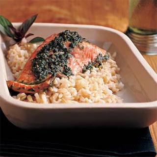 Easy Pesto Salmon.