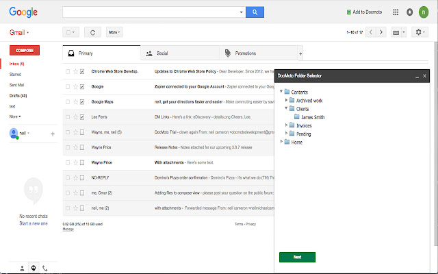 DocMoto Gmail Extension