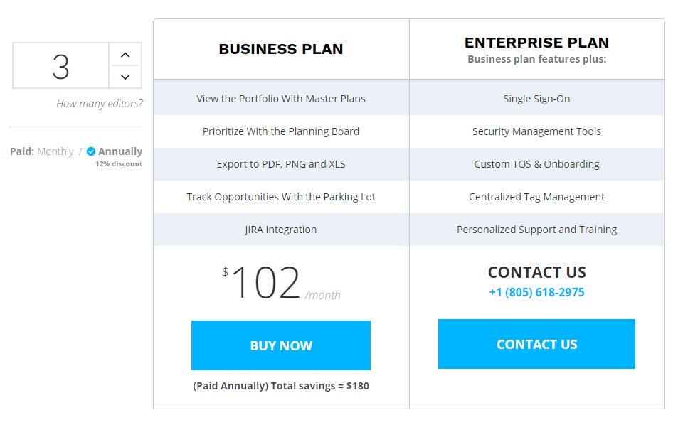 Product Plan - Per User Pricing Example