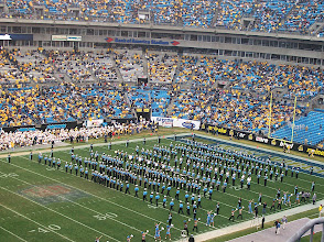 Photo: The UNC band about to start their performance at halftime.