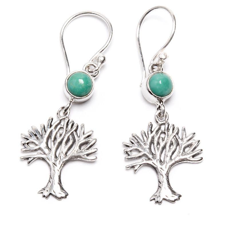 Turkos, örhängen med Livets träd
