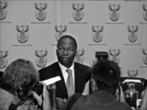 TOUGH DECISION: Transport Minister Sbu Ndebele facing the media at Parliament yesterday. 19/05/2009. Pic. Unknown.