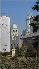 Photo: Turda - Piata 1 Decembrie 1918 - Portretul lui Mihai Eminescu, vedere Catedrala Ortodoxa - 2018.02.07