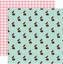 Echo Park Easter Wishes Cardstock 12X12 - Chocolate Bunnies UTGÅENDE