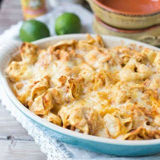Easy Chicken Enchilada Tortellini Bake.
