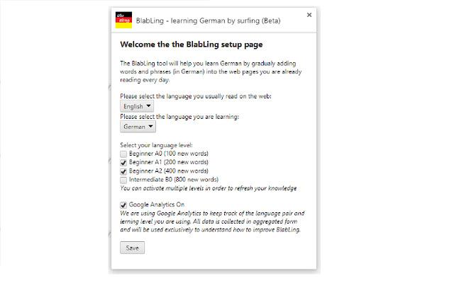 BlabLing - learning German by surfing (Beta)
