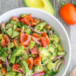 Cucumber Tomato Avocado Salad.