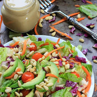 Easy 7-Ingredient Rainbow Rotisserie Chicken Salad w/ Avocado and Honey Mustard Dressing.