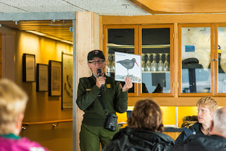 Photo: Ranger Mary Lou tells us how to idntify the birds we will see in Glacier Bay NP