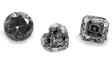 Black diamonds of different shapes: exemplary view