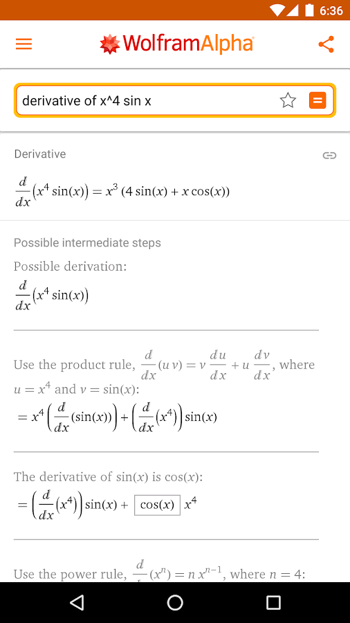 WolframAlpha – Screenshot