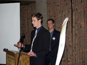 Photo: Student Peter Shallwood of Algonquin College discussed their entry for the Student Design Competition