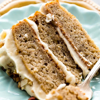 Banana Cake with Brown Butter Cream Cheese Frosting.