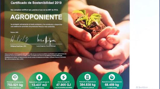 Grupo Agroponiente recibe uno de los Certificados de Sostenibilidad 2019
