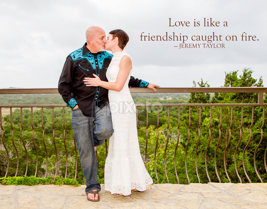 Love is LIke Friendship Caught on Fire by Matthew Chambers - Typography Captioned Photos ( love, bride, relaxed, groom, quote, white, casual, sandles, wedding, kiss )