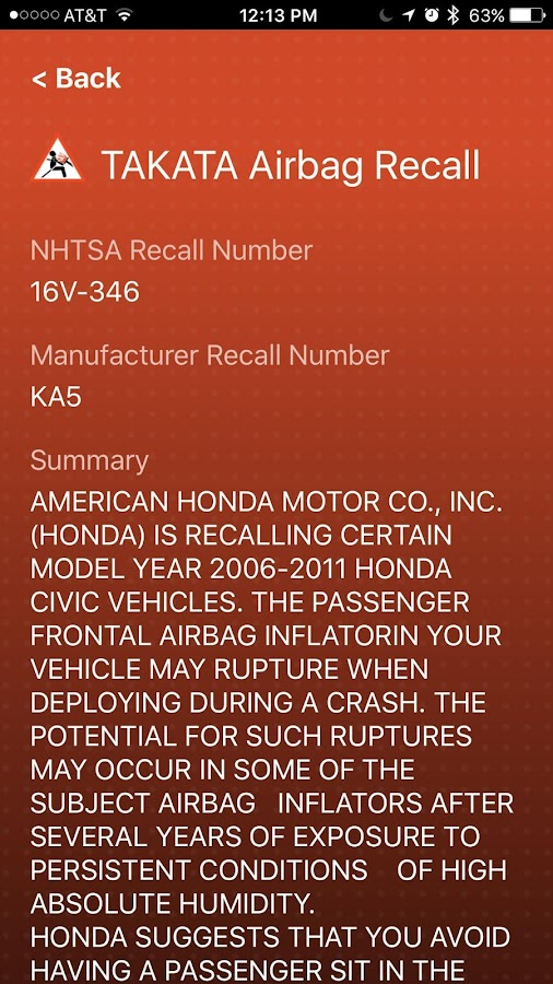 Airbag Recall- screenshot