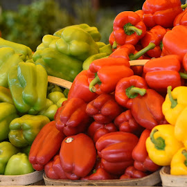 Peppers- Green - Red - and Yellow  by Lorraine D.  Heaney - Food & Drink Fruits & Vegetables