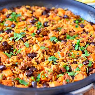 Mexican Chorizo, Sweet Potato and Black Bean Rice Skillet.