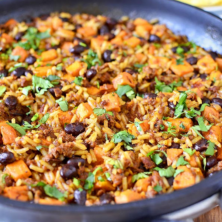 Mexican Chorizo, Sweet Potato and Black Bean Rice Skillet