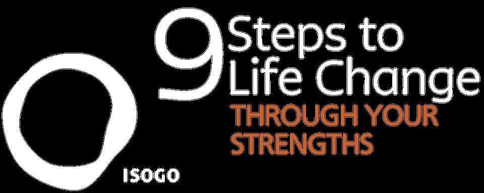 StrengthsFinder 9 Steps Logo white orange