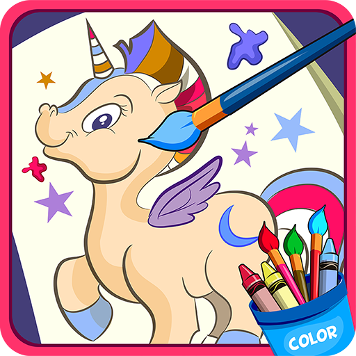 Horse, unicorn coloring book