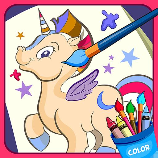 Horse, unicorn coloring book Icon