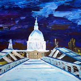 london St Pauls by Paul Robin Andrews - Painting All Painting ( st pauls, london, art, bridge, city )