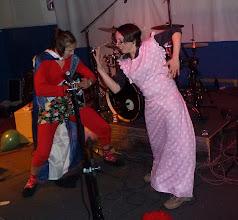 Photo: Caroline and Michele rocking to the DJ music.