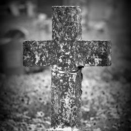 Flowers By The Cross by Rhonda Kay - City,  Street & Park  Cemeteries