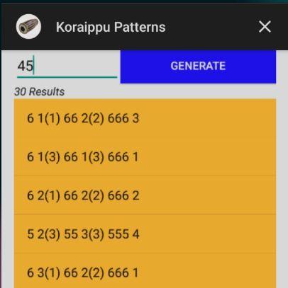 Mridangam Koraippu Patterns