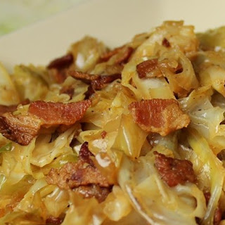 Fried Cabbage with Bacon, Onion, and Garlic.