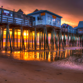 Old Orchard Beach Pier  by Chris Cavallo - Buildings & Architecture Bridges & Suspended Structures ( shore, sand, old orchard beach, atlantic ocean, pier, ocean, footprint, beach, sunrise, golden hour,  )