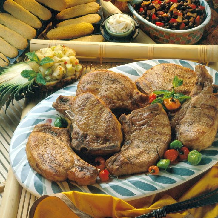 Tropical Island Chops with Pineapple-Cucumber Salsa Recipe