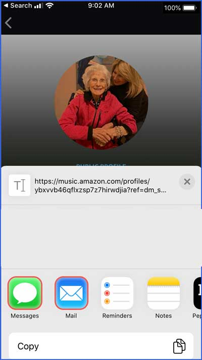 amazon music app - share sheet