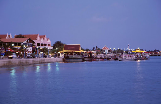 Bonaire-Kralendkijk.jpg - Along the waterfront of Kralendijk, capital of Bonaire, as night descends.