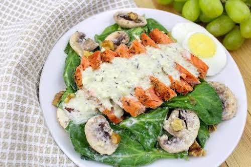 "Spinach Salad With Pan Seared Salmon""This spinach salad is delightful. The seared..."
